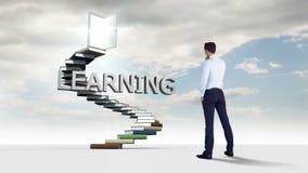 Homme d'affaires regardant des étapes faites de livres avec un mot de flottement dans le ciel banque de vidéos