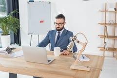 Homme d'affaires regardant l'écran d'ordinateur portable sur le lieu de travail dans le bureau Photographie stock