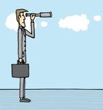 Homme d'affaires regardant l'avenir/le prévoyant/tendance illustration libre de droits