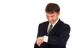 homme d'affaires regardant la montre photographie stock libre de droits