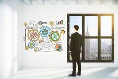Homme d'affaires regardant le mur avec le plan d'affaires dans le lo vide Photographie stock libre de droits