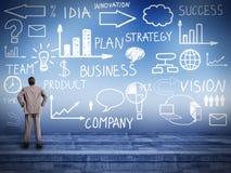 Homme d'affaires regardant le plan d'innovation. image stock