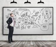 Homme d'affaires regardant les icônes réussies d'affaires Image stock