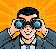 Homme d'affaires regardant par des jumelles Style comique d'art de bruit rétro Illustration de vecteur de dessin animé illustration de vecteur
