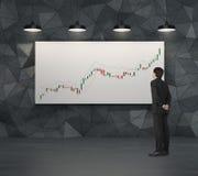 Homme d'affaires regardant pour mirer le diagramme Photographie stock