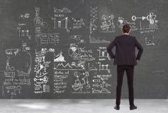 Homme d'affaires regardant quelques diagrammes Images libres de droits