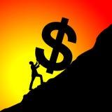 Homme d'affaires relevant le symbole du dollar Images libres de droits