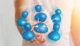 Homme d'affaires reliant le rendu social du réseau 3D d'icône bleue Images stock