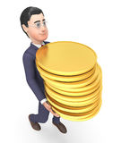 Homme d'affaires Represents Coins Money de finances et rendu du succès 3d Photo stock