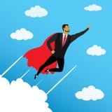 Homme d'affaires ressemblant au superhéros volant au succès en ciel illustration libre de droits