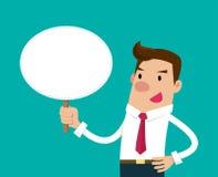 Homme d'affaires retenant un signe blanc Illustration d'isolement de vecteur Image stock