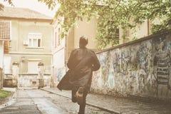 Homme d'affaires Running Sur le mouvement photographie stock libre de droits