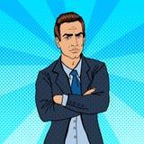 Homme d'affaires sérieux Bossage confiant Art de bruit illustration stock