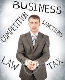 Homme d'affaires sérieux dans des manchettes Image stock