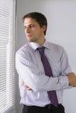 Homme d'affaires sérieux jetant un coup d'oeil par des abat-jour dans le bureau Photographie stock