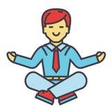 Homme d'affaires s'asseyant dans la pose de yoga, méditation d'affaires, concept de relaxation de travailleur d'entreprise Photos libres de droits