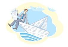 Homme d'affaires s'asseyant dans le bateau et naviguant sur la rivière Photos libres de droits