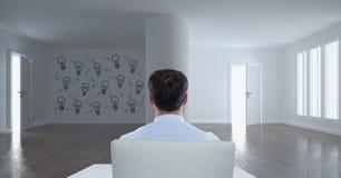 Homme d'affaires s'asseyant dans une salle 3D avec un graphique conceptuel sur le mur Images libres de droits
