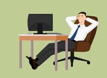 Homme d'affaires s'asseyant derrière la table et la détente Illustration de Vecteur