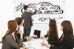 Homme d'affaires s'exerçant au sujet des applications de calcul de nuage global image stock