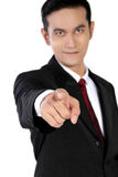 Homme d'affaires sûr dirigeant le doigt à vous, d'isolement sur le blanc Images libres de droits