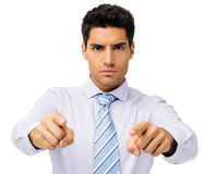 Homme d'affaires sûr Pointing At You Photo stock