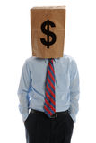 Homme d'affaires s'usant un sac de papier sur sa tête Image stock