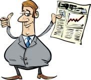 Homme d'affaires satisfaisant avec le journal Image libre de droits