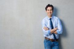Homme d'affaires satisfaisant heureux Photographie stock