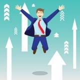 Homme d'affaires sautant heureux Among Upward Arrows Image stock