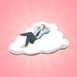 Homme d'affaires se reposant sur un nuage Photographie stock