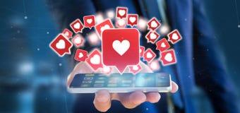 Homme d'affaires se tenant comme l'avis sur un rende social du media 3d Photo stock
