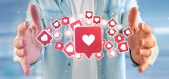 Homme d'affaires se tenant comme l'avis sur un rende social du media 3d Photos libres de droits