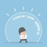 Homme d'affaires se tenant dans la zone de confort illustration stock