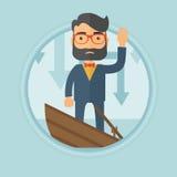Homme d'affaires se tenant en coulant le bateau illustration libre de droits