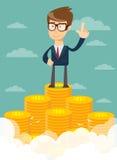 Homme d'affaires se tenant fièrement sur l'escalier énorme d'argent illustration de vecteur