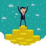 Homme d'affaires se tenant sur l'escalier énorme d'argent illustration de vecteur