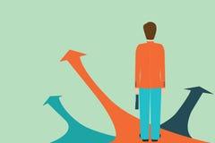 Homme d'affaires se tenant sur la flèche avec beaucoup de manières de directions Illustration Libre de Droits