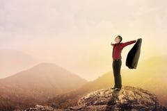 Homme d'affaires se tenant sur le dessus de la montagne Photo stock