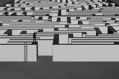 Homme d'affaires se tenant sur le mur de labyrinthe avec l'échelle en bois Photographie stock libre de droits