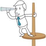 Homme d'affaires se tenant sur un courrier de surveillance illustration stock