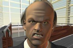 Homme d'affaires semblant fâché dans l'appareil-photo Photo stock