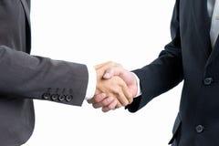 Homme d'affaires serrant la main sur le blanc d'isolement images libres de droits