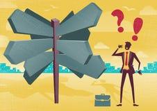 Homme d'affaires Sign Post Dilemma Photo libre de droits