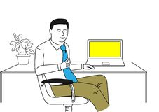 Homme d'affaires Sitting On Chair dans le bureau Photos stock