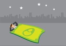 Homme d'affaires Sleeping Under Starlight avec la couverture d'argent Images stock