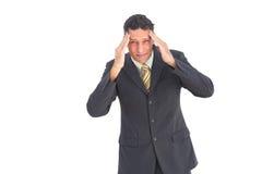 Homme d'affaires soucieux avec des mains sur sa tête Photos stock