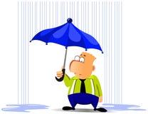 Homme d'affaires sous le parapluie illustration stock