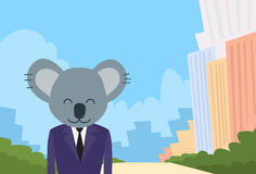 Homme d'affaires Suit Profile de tête de bande dessinée d'ours de koala Illustration Stock