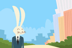 Homme d'affaires Suit Profile Icon de tête de bande dessinée de lapin Illustration Stock